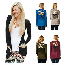 Women Skull Hollow Out Sweaters Knitted Long Sleeve Cardigans Thin Cardigans WS
