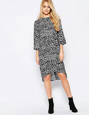 Womens Leopard Print Shift Dress 3/4 Sleeves Casual Knee Length Oversized Summer