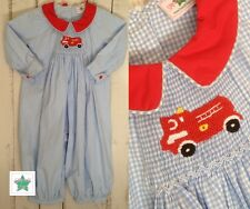 Smocked Fire Truck Romper, Fire Engine Longall,  sibling matching, FREE SHIPPING