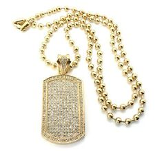 "Gold Military Dog Tag Pendant 30"" Ball Bead Chain Necklace Mens Fashion Jewelry"