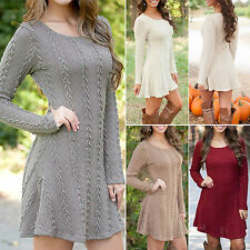 Womens Long Sleeve Knitwear Knitted Sweater Sweats Party Jumper Dress Pullover