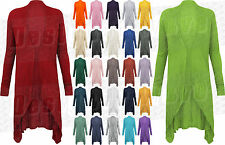 Ladies Womens Plain Long Open Cardigan Dip Sides Waterfall Cardi Thin Summer
