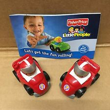 FISHER PRICE LITTLE PEOPLE WHEELIES GARAGE RACING CARS NO 7 NEW IN PACK x2