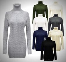 New Women Cable Chunky Knitted Polo Neck Jumper Long Sleeve Sweater Jumper Dress