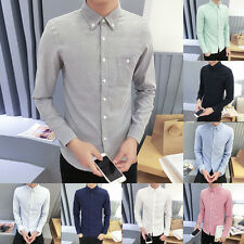 New Mens Basic Shirts Long Sleeve Solid Shirts Slim Fit Tops Button Tee Blouse