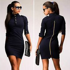 Womens Turtleneck Zip Bodycon Jumper Prom Dress Clubwear Party  Cocktail Dresses