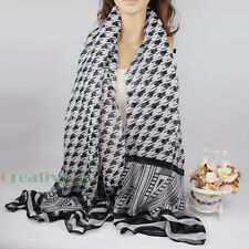 Fashion Stylish Women's Viscose Houndstooth Shawl Scarf Cover-up Wrap Sarong New