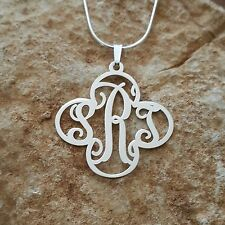 flower monogram necklace, ORDER ANY LETTERS! monogrammed pendant, xmas gift!