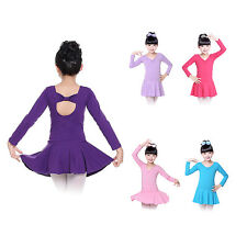 4-14Y Kids Girls Ballet Dance Leotard Dress Bowknot One-piece Dancewear Costume