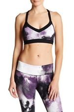 ALO Yoga Zena Sports Bra - Purple Pennant Smoke Print/Black - S/M - $60.00 NWT