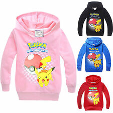 Pokemon Kids Hoodies Pikachu Hoody Sweatshirt Girls Boys Jacket Cardigan Jumper