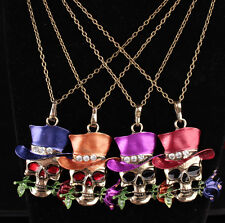 Newest Pendent Jewelry Skull Flower Necklace Silver Plated Unisex Décor Gifts