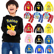 Pokemon Kids Fleece Hoodies Pyjamas Sleepwear Outfit Set Pikachu Hoody Pullover