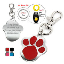 Cute Paw Print Custom Pet Dog Tags Cat ID Name Tag Engraved Free Clicker 4 Color