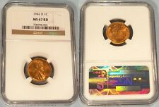 1942-D  NGC MS67RD LINCOLN CENT 1c  MS 67 RD RED