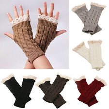 Women Fingerless Lace Gloves Soft Knitted Warm Long Mitten Wrist Warmer Luxury