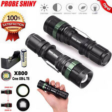 Tactical Flashlight Zoomable CREE XM-L T6 LED 18650 Military Torch Light Lamp