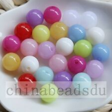 50pcs 18MM Acrylic Plastic Round Spacer Beads Jelly Color Loose Ball Charms