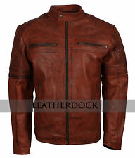 Mens Fitted Rust Brown Vintage Real Leather Biker Smart Casual Motorcycle Jacket