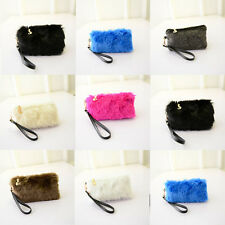 Fashion Women Clutch Bags Pouch Plush Faux Leather Zipper Handbag Purse Wallet
