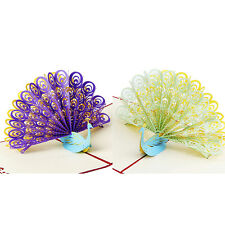 3D Pop Up Greeting Card Peacock Birthday Easter Mother's Day Thanks e9