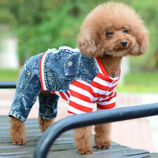 Pet Cat Dog Stripe Skirt with Jeans Pants Puppy Clothes Clothing Cosplay Costume