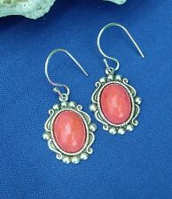 Vintage Coral Opaque Glass on Oxidized Sterling Silver Plated Settings