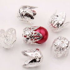 Lots 25/50Pcs Silver Plated Leaf Shape Metal Bead Caps Jewelry Findings 11X10MM