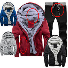 Mens Casual Fleece Hoodie Coats Thick Hooded Jackets+ Pants Tracksuits Sportwear