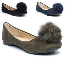Ladies Slip On Pom Pom Fluffy Fur Ball Suede Ballet Pumps Flats Dolly Shoes