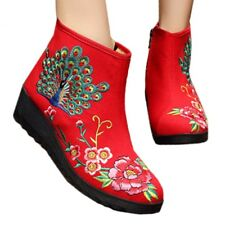 Peacock Vintage Beijing Cloth Shoes Embroidered Boots red 35