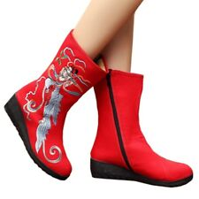 Fly to the Moon Vintage Beijing Cloth Shoes Embroidered Boots red 35