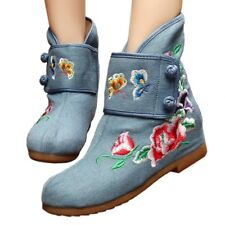 Vintage Beijing Cloth Shoes Embroidered Boots jeans 35