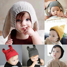 Baby Toddler Kids Soft Knitting Crochet Earflap Beanie Hat Boys Winter Warm Cap
