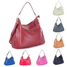 Big Handbag Shop Womens Real Leather Multi Zip Pocket Medium Hobo Shoulder bag