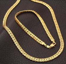 18K Gold Plated Necklace Chain Bracelet Set Fashion Jewelry Men Women Unisex New