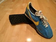 Vintage 1970's Nike Blue Waffle Trainer Running Shoes Sneakers Size 9 , 10 US