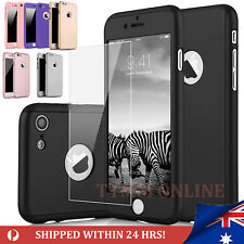 iPhone 7 7 Plus 360 Full Body Hybrid Hard Case Cover + tempered Glass for Apple