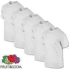 FRUIT OF THE LOOM 5 PACK MENS WHITE HEAVY COTTON T SHIRTS