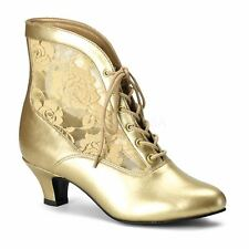 Funtasma by Pleaser DAME-05 Victorian Ankle Boot Pioneer Lace Women's Gold