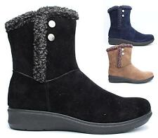 WOMENS FLAT FAUX SUEDE FUR ZIP UP LADIES WEDGE SOLE WINTER SNOW ANKLE BOOTS SHOE