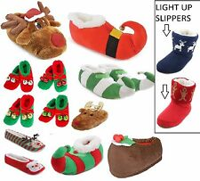 MENS/LADIES/KIDS XMAS CHRISTMAS SLIPPERS ELF SANTA RUDOLPH REINDEER NOVELTY BOOT