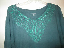 Green Knit Tunic Top Plus Size Blouse Size 0X 14 16W Last 1 Catherines Shirt NWT