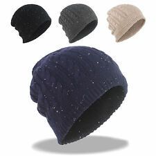 New Winter Thick Cable Knit Beanie with Splashing Dots Skull Ski Hat Watch Cap