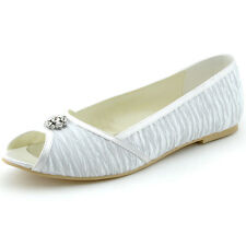 1202D White Ivory Peep Toe Pleat Rhinestones Flats Satin Party Wedding Shoes