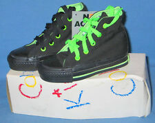 Kids CONVERSE Chuck Taylor ALL STAR Hi-Cut SNEAKERS Black/Neon Lime Accent USA