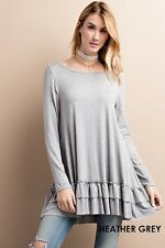 Easel boutique long sleeve heather grey round neck ruffle hem tunic top S M L