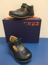 Petasil Tim Classic Boys T-Bar shoes in Navy Leather
