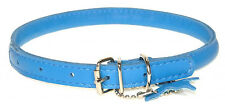 """Rolled Leather Dog Collars. Finest Quality. Chrome. VERY Soft, BLUE Sizes 9""""-24"""""""