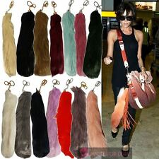 NEW CELEBRITY FAUX FUR COLOURED TAIL KEYRING BAG CHARM 14 COLOURS KEYCHAIN